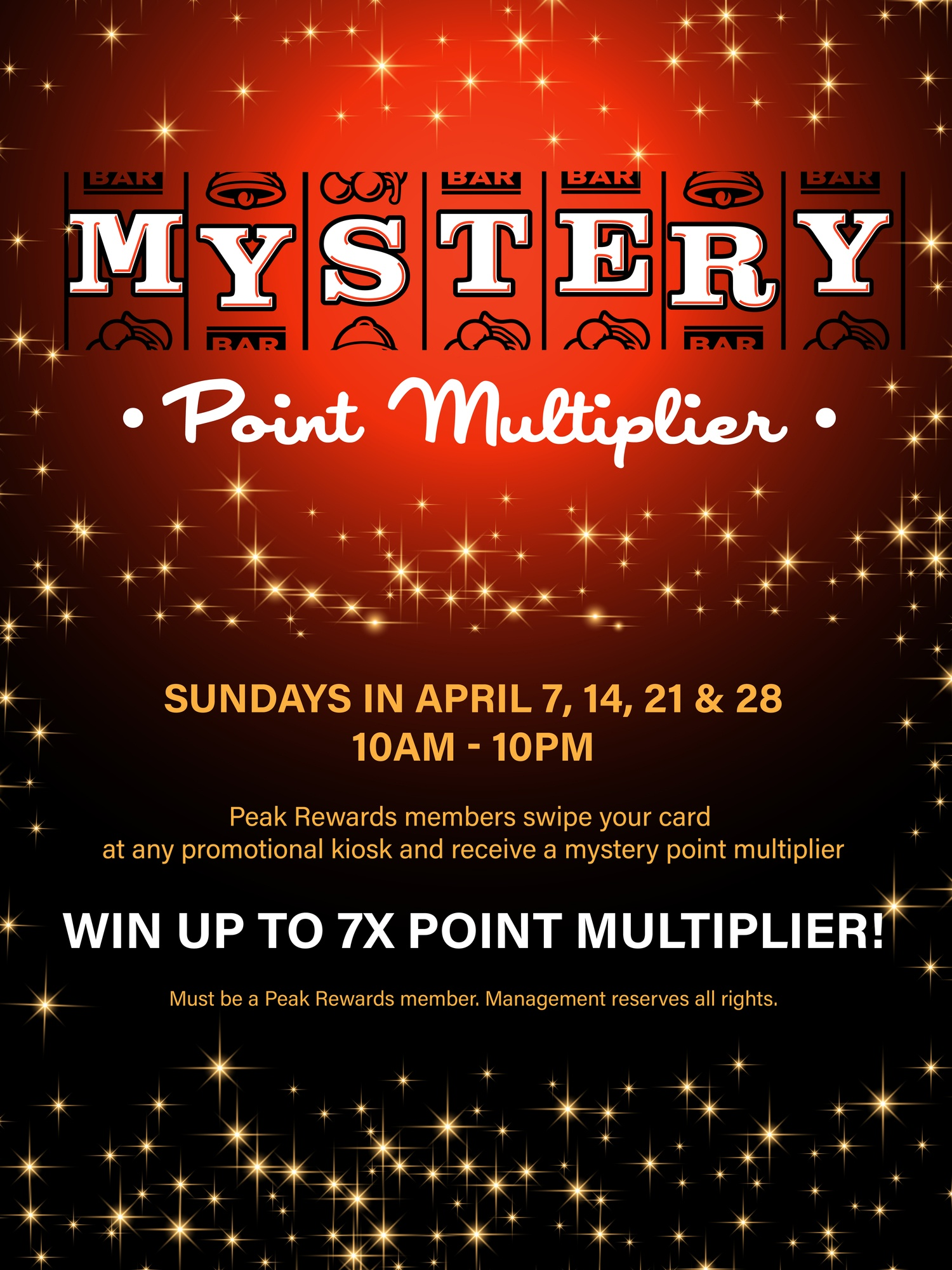 Mystery Point Multiplier Players Club Peak Rewards